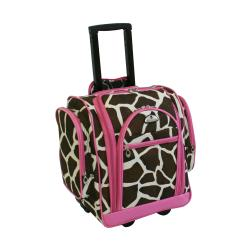 American Flyer Pink Giraffe 15-inch Rolling Carry-on Tote