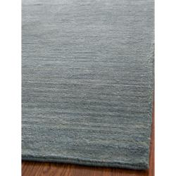 Loomed Knotted Himalayan Solid Blue Wool Rug (4' x 6')
