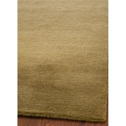 Loomed Knotted Himalayan Solid Green Wool Rug (5' x 8')