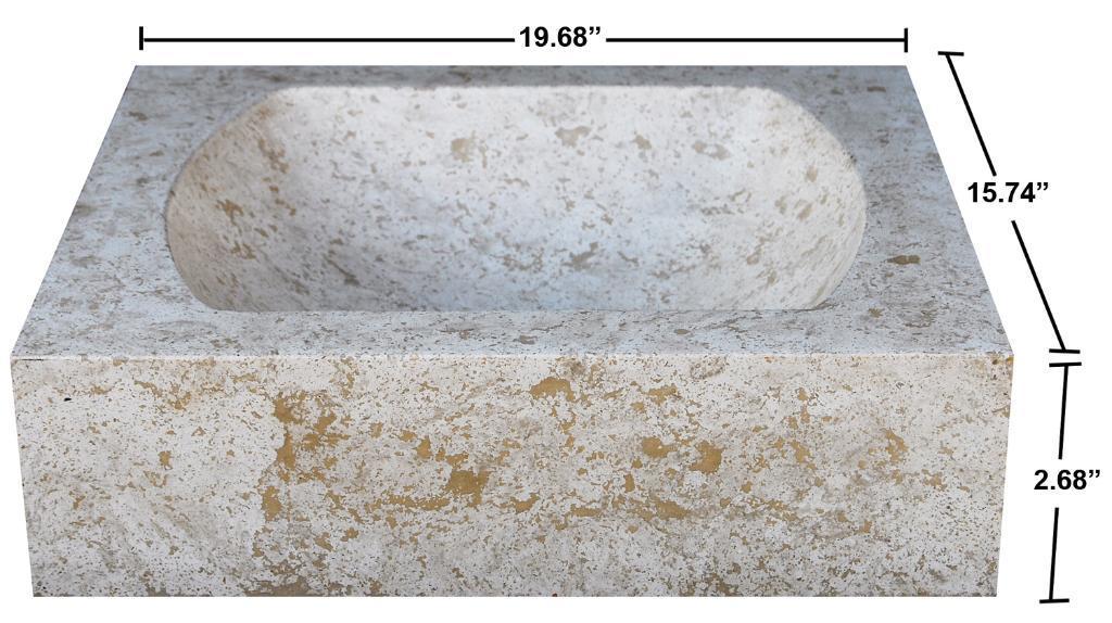 Concrete Quarter Moon Marble Sink