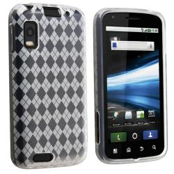 Clear White Argyle TPU Case for Motorola Atrix MB860 4G