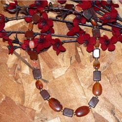 Susen Foster Goldplated 'Willing Heart' Carnelian and Jasper Necklace