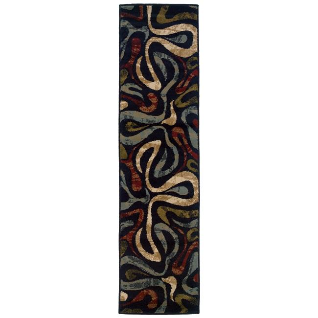 Swirl Black Rug (1'10 x 7'3)