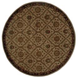 Hand-tufted Beige/ Brown Wool Rug (7'6 Round)