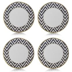 Mikasa Color Studio Blue Gold Zigzags Accent Plates (Set of 4)