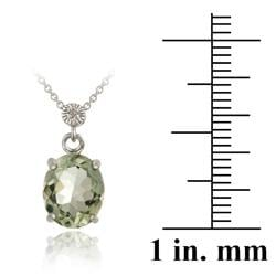 Glitzy Rocks Silver Green Amethyst and Diamond Accent Necklace