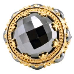 Michael Valitutti Palladium Silver Hematite and Sapphire Ring