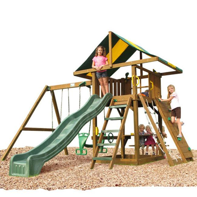 Play Time Lincoln Series Swing Set with Rope Accessories
