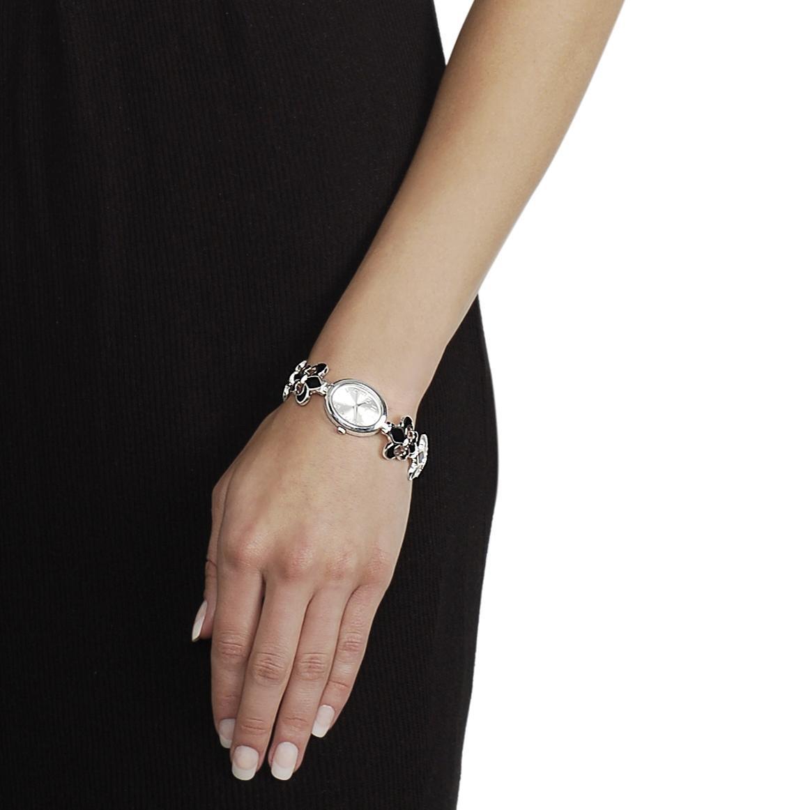 Geneva Platinum Women's Fleur De Lis Toggle Watch