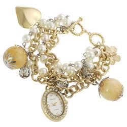 Geneva Platinum Women's Rhinestone Faux Pearl Charm Watch