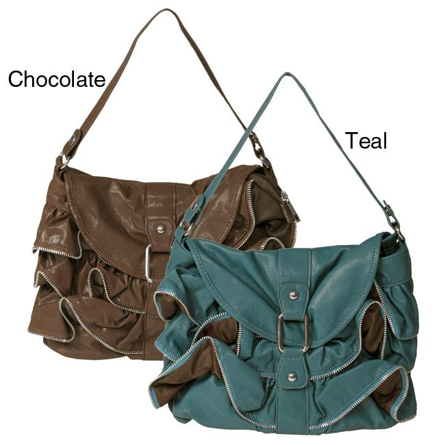 Journee Collection Women's Faux Leather Ruffle Accent Hobo Bag