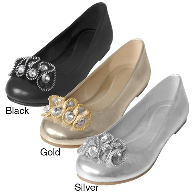 Journee Collection Girl's 'Foy-9' Rhinestone Accent Ballet Flats