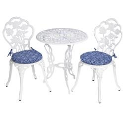 Bistro Outdoor Blue Tile Round Chair Cushions (Set of 2)