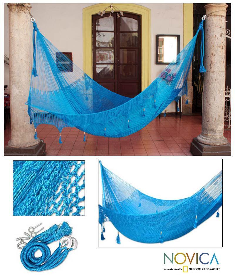 Nylon 'Blue Heaven' Large Deluxe Hammock (Mexico)