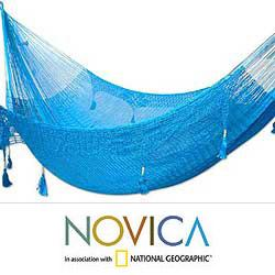 Nylon 'Blue Heaven' Large Deluxe Hammock (Mexico)