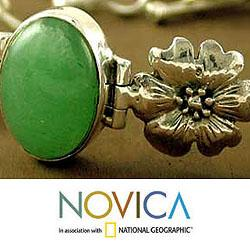 Sterling Silver 'Delight' Aventurine Flower Bracelet (India)