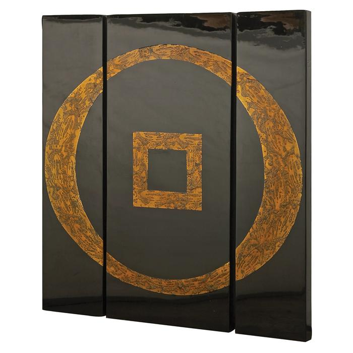 Black and Gold Lacquered Panels (Set of 3)