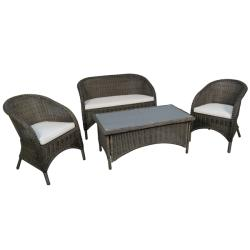 Mocha Brown Outdoor 4 Piece Rattan Furniture Set
