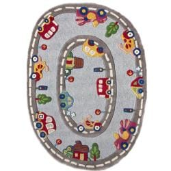 Hand-carved Alexa Kids Street Car Multi Wool Rug (3'6 x 5'6)
