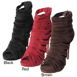Liliana by Adi Women's 'Jamsie-10' Faux Suede Strappy Peep Toe Ankle Booties