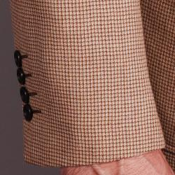 Men's Taupe Checkered 2-button Wool Sportcoat