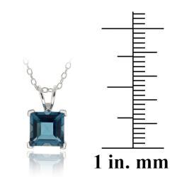 Glitzy Rocks Silver London Blue Topaz Square Solitaire Necklace