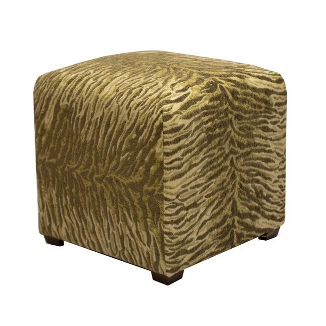 Tyler Sage Green Zebra Cube Ottoman