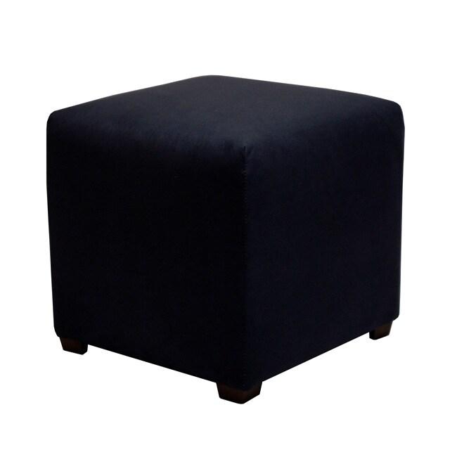 Tyler Midnight Blue Cube Ottoman