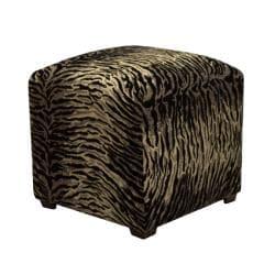 Tyler Black Zebra Cube Ottoman