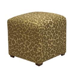 Tyler Sage Leopard Cube Ottoman