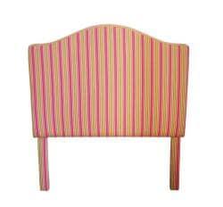Pink and Yellow Pinstripe Fabric Twin Headboard