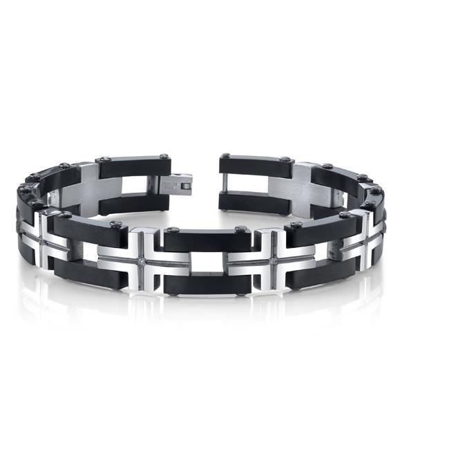 Stainless Steel Men's Carbon Fiber and Cubic Zirconia Link Bracelet