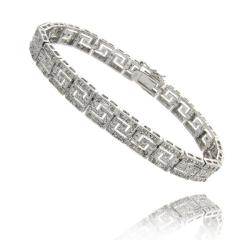 Sterling Silver 1ct TDW Diamond Greek Key Design Bracelet