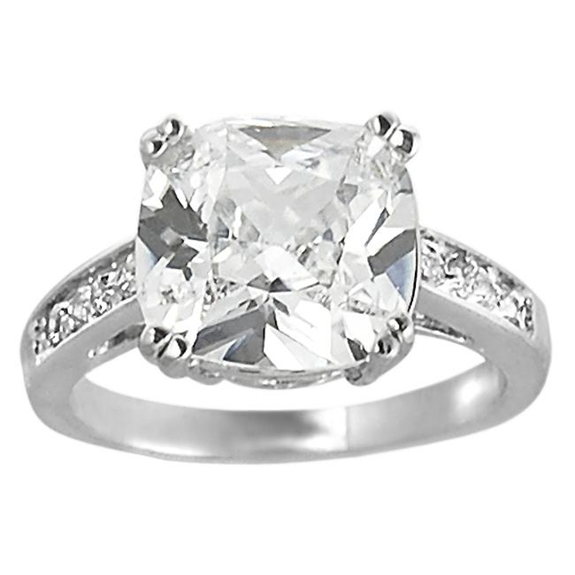 Journee Collection Silvertone Cushion-cut Cubic Zirconia Ring
