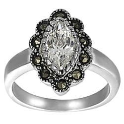 Journee Collection Silvertone CZ and Created Marcasite Flower Ring