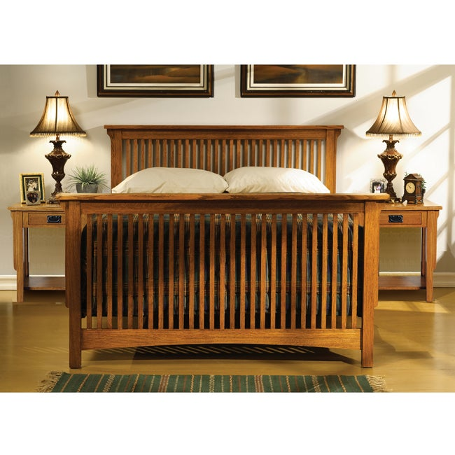 Mission solid oak 3 piece queen size bedroom set for 3 piece queen size bedroom set