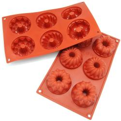 Freshware 6-cavity Mini Bundt Cake Silicone Mold/ Baking Pans (Pack of 2)