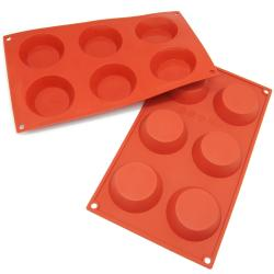Freshware 6-cavity Pudding/ Cheesecake/ Tart/ Muffin Silicone Mold/ Baking Pans (Pack of 2)