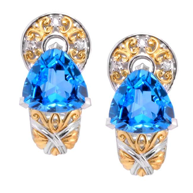 Michael Valitutti Two-tone Swiss Blue Topaz and White Sapphire Earrings