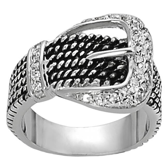 Journee Collection Silvertone Pave-set CZ Rope Detail Buckle Ring