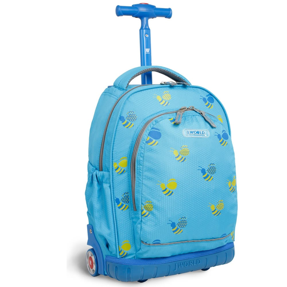 J World 'Candy' 16-inch Blue Bees Kids Rolling Backpack