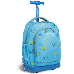J World &#39;Candy&#39; 16-inch Blue Bees Kids Rolling Backpack