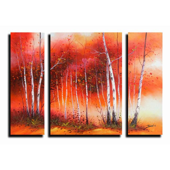 White Birch Oil Paint 3 piece Canvas Art Set