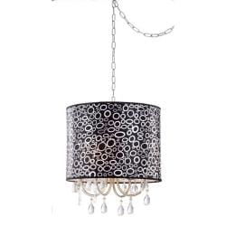 Black/ White Pattern Clear Crystal 4-light Pendant Chandelier