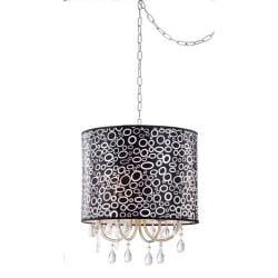 Black/ White Pattern Clear Crystal 4-light Pendant Chandelier