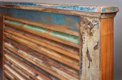 Reclaimed Wood Weathered Queen Platform Bed (India)