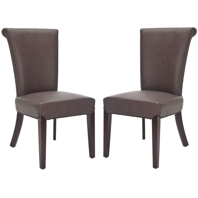 Safavieh Madison Brown Leather Side Chairs (Set of 2)