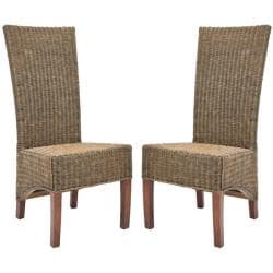 St. Criox Honey Wicker High Back Side Chairs (Set of 2)