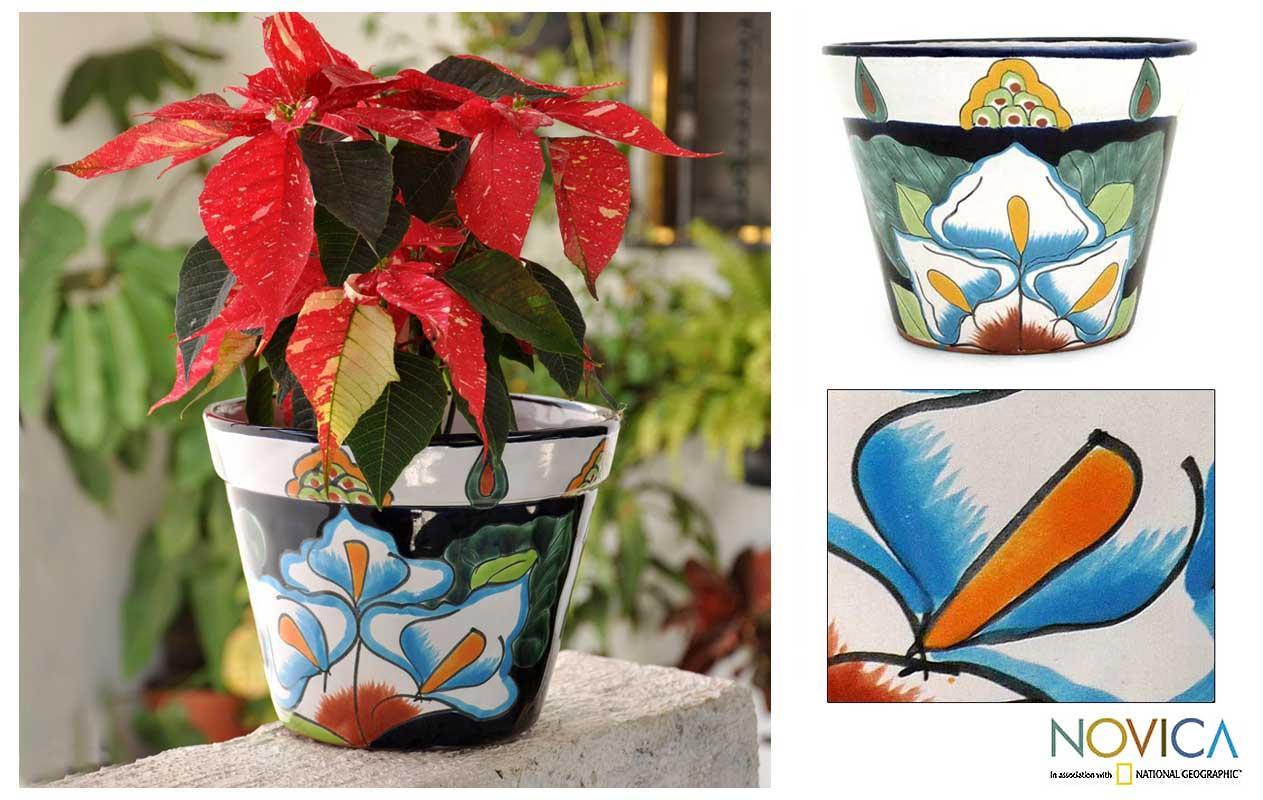 Ceramic 'Calla Lilies' Flower Pot (Mexico)