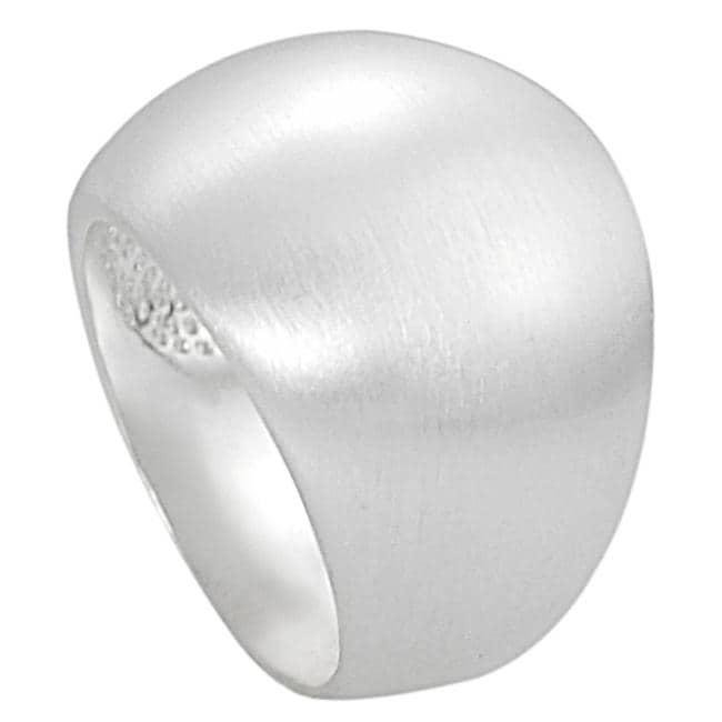 Silvertone Brushed Finish Dome Ring